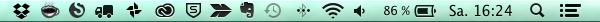 Menüleiste in schwarz Mac Dropbox