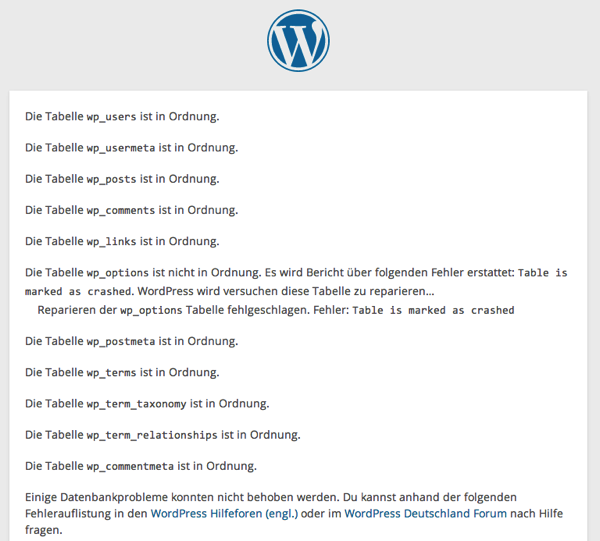 WordPress Datenbank Reparatur