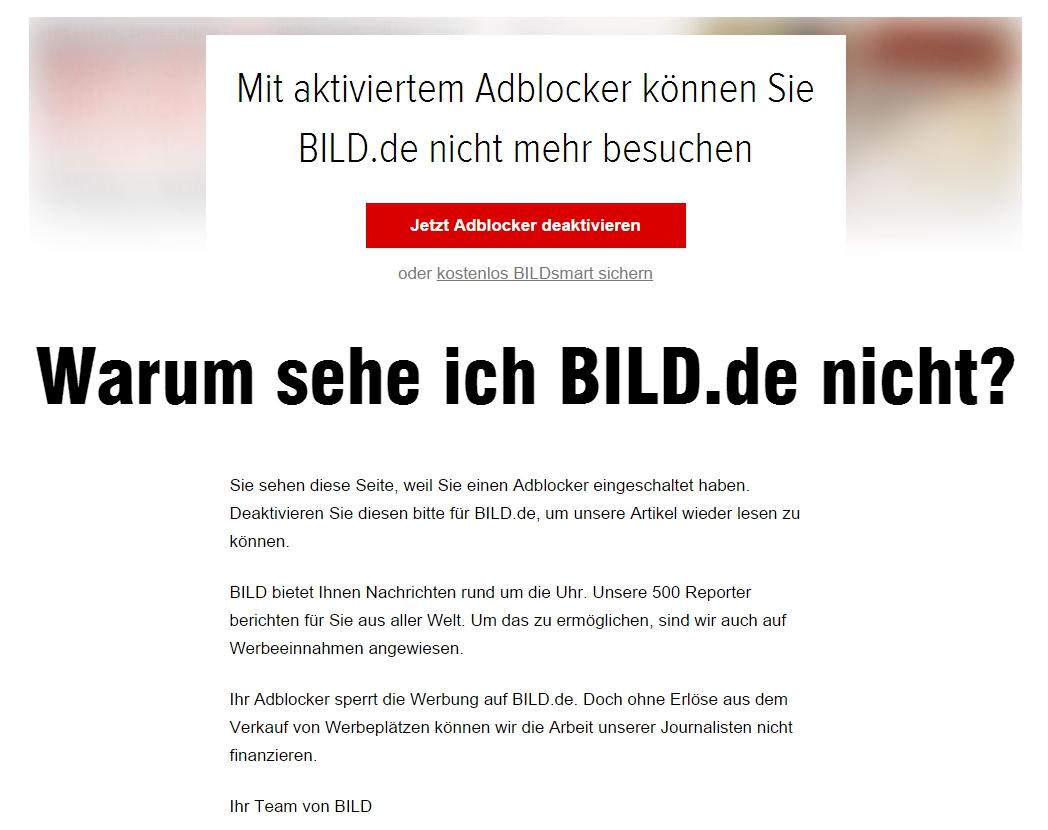 Bild.de erklärt Nutzern, warum sie nichts sehen.