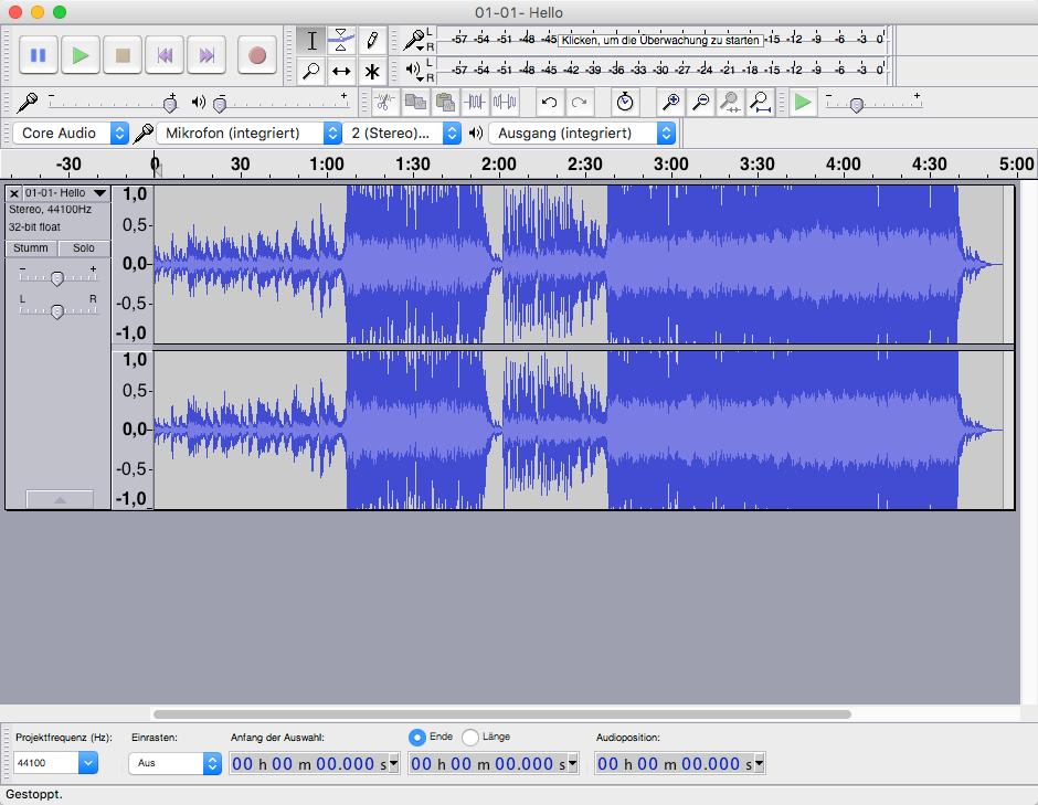 """Hello"" von Adele als Audio-Datei in Audacity"